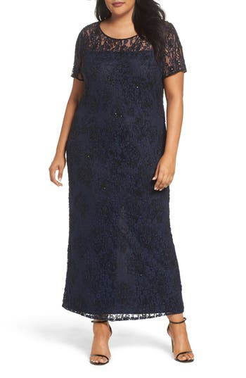 Plus Size Pisarro Nights Beaded Lace Gown, Blue