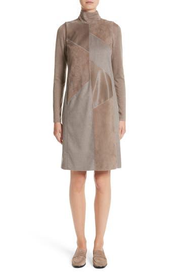 Lafayette 148 New York Daren Loro Piana Melange Cashmere Dress With Suede & Genuine Calf Hair Trim, Beige