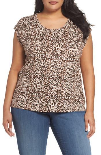 Plus Size Women's Michael Michael Kors Leopard Print Elliptical Top