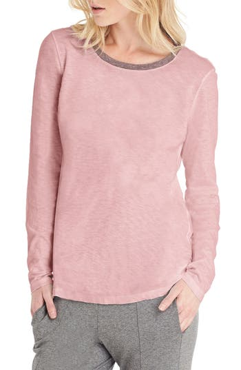Michael Stars Long Sleeve Ringer Tee, Size One Size - Pink