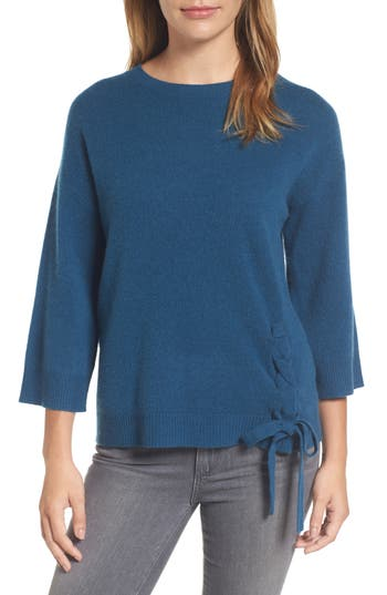 Halogen Side Tie Wool And Cashmere Sweater, Blue