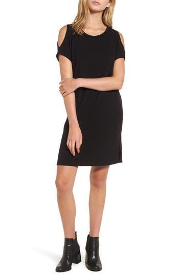 Soprano Cold Shoulder Shift Dress, Black
