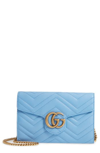 Gucci Gg Marmont 2.0 Matelasse Leather Wallet On A Chain - Blue