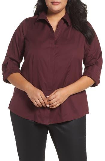 Plus Size Foxcroft Ellen Solid Stretch Cotton Top, Red