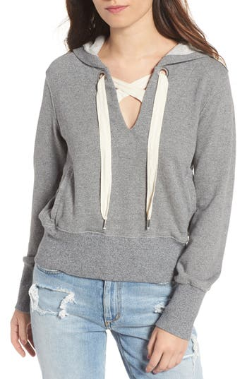 Splendid Warwick Lace-Up Hoodie, Grey