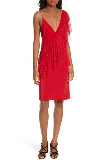Diane Von Furstenberg Ruffle Front Lace Dress, Red