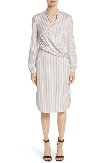 St. John Collection Vertical Stripe Stretch Silk Dress, Beige