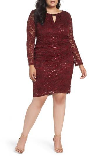 Plus Size Marina Lace Sheath Dress, Red