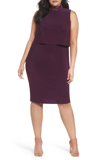 Plus Size Marina Embellished Popover Cocktail Dress, Purple