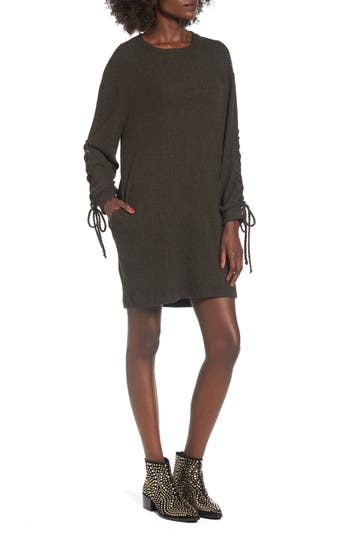 Lace-Up Sweater Dress, Green