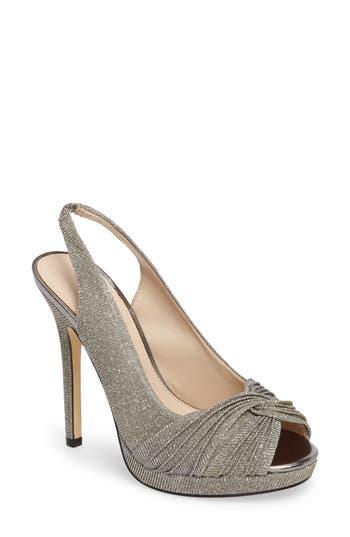 Nina Felyce Peep Toe Slingback Pump, Metallic