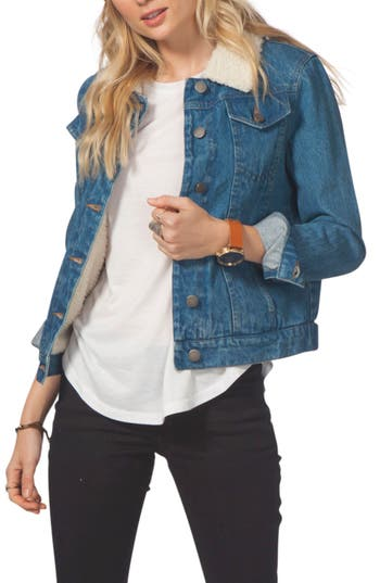 Women's Rip Curl Janis Faux Shearling Trim Denim Jacket, Size X-Small - Blue