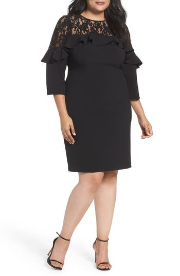 Plus Size Eliza J Lace Sheath Dress, Black