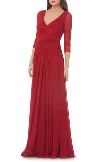 Js Collections Surplice Drop Waist Gown, Red