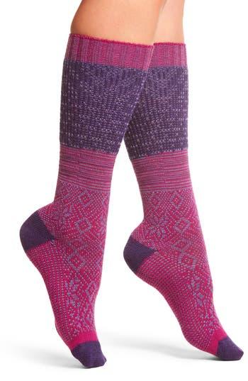 Women's Smartwool Snowflake Flurry Mid Calf Socks, Size Medium - Pink