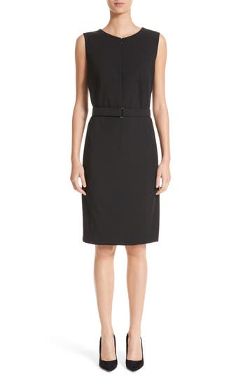 Akris Punto Belted Zip Front Wool Dress