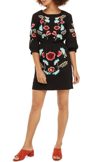 Women's Topshop Embroidered Blouson Sleeve Dress