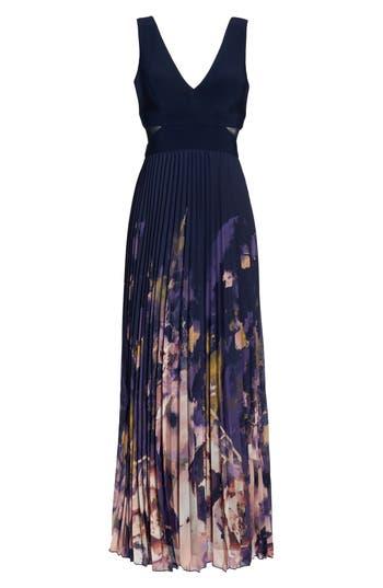 Petite Xscape Floral Border A-Line Chiffon Gown