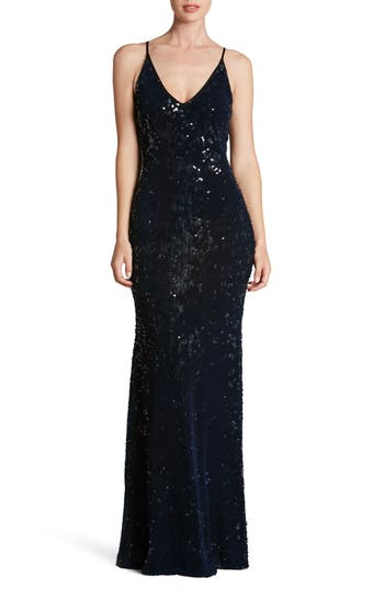 Dress The Population Vanessa Sequin Gown, Blue