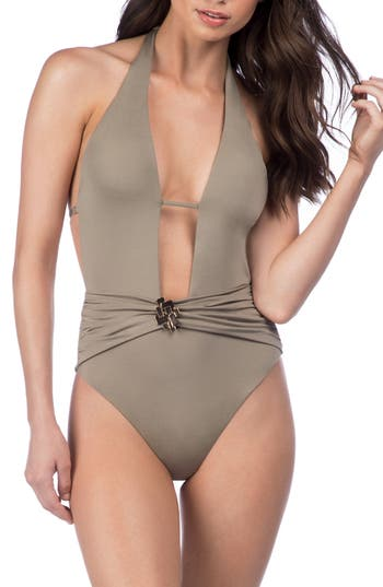 Trina Turk Studio One-Piece Swimsuit, Beige