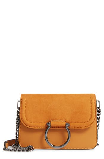 Topshop Remy Trophy Faux Leather Crossbody Bag - Yellow