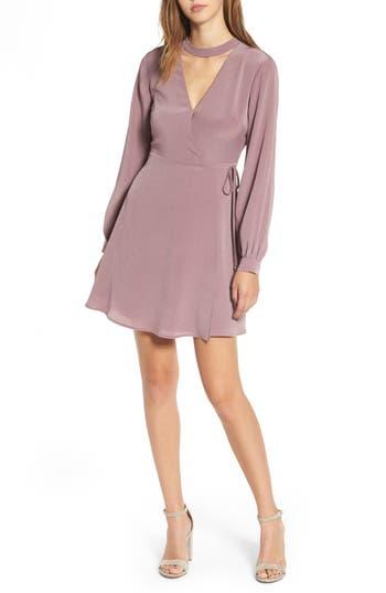 Women's Lush Choker Neck Wrap Dress, Size Small - Purple
