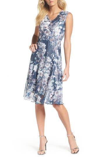 Komarov Print Chiffon Dress, Black