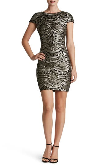 Dress The Population Tabitha Sequin Body-Con Dress, Metallic
