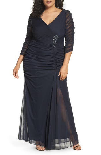 Plus Size Adrianna Papell Beaded Mesh Gown, Blue