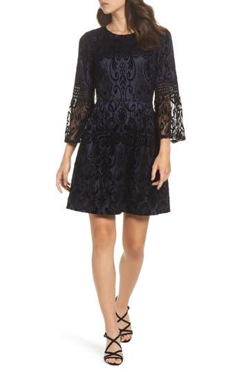 Eliza J Lace Bell Sleeve Dress, Black