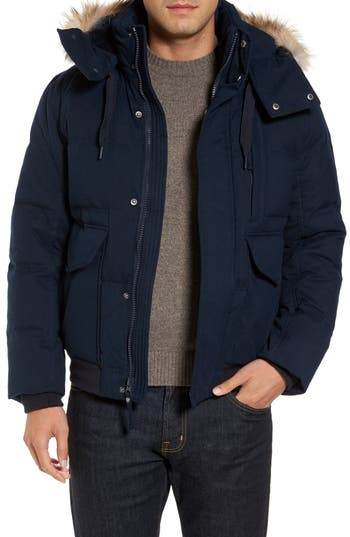 Marc New York Down Herringbone Jacket With Genuine Coyote Fur Trim, Blue