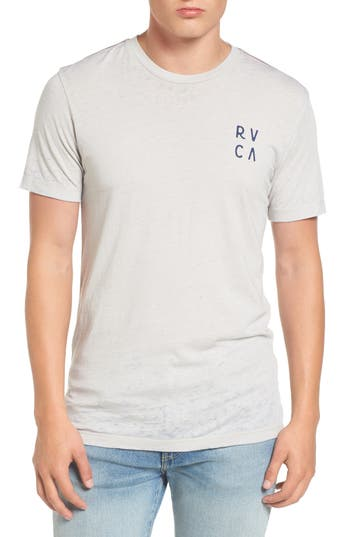 Rvca Opposing Moons Graphic Burnout T-Shirt, Grey