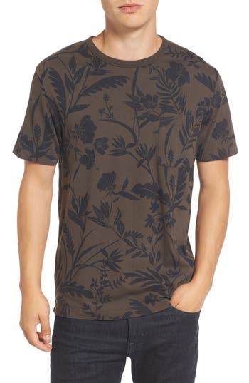 French Connection Floral Print T-Shirt, Grey