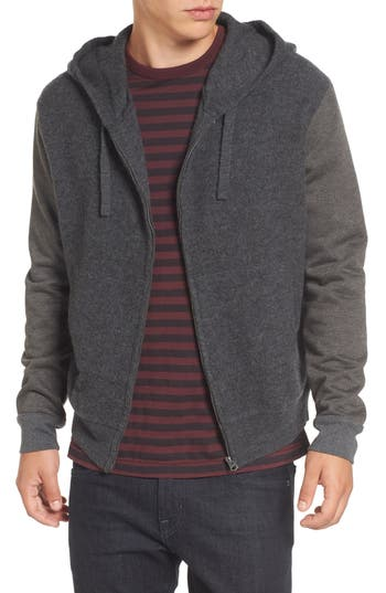 French Connection Hooded Zip Sweater, Black