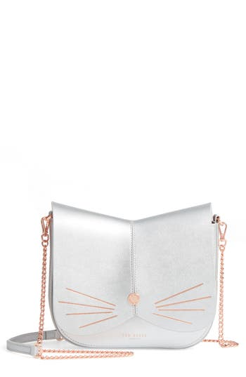 Ted Baker London Kittii Cat Leather Crossbody Bag - Metallic