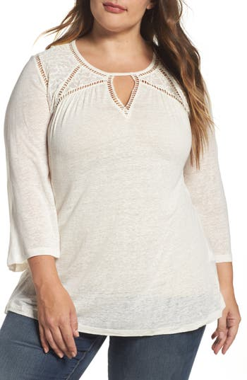 Plus Size Lucky Brand Mixed Lace Peasant Top, White