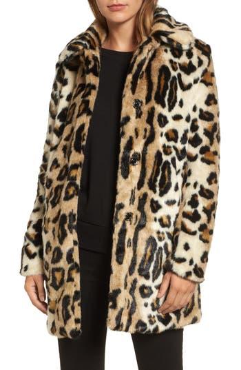 Women's Kensie Leopard Spot Faux Fur Coat, Size X-Small - Beige