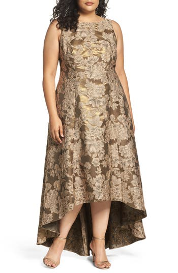 Plus Size Adrianna Papell Embellished High/low Brocade Ballgown, Metallic