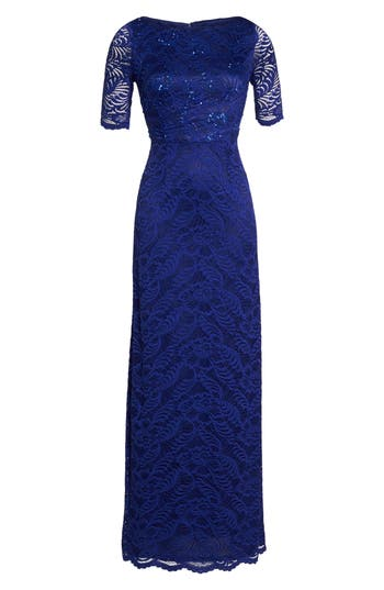 Adrianna Papell Shirred Stretch Lace Gown, Blue