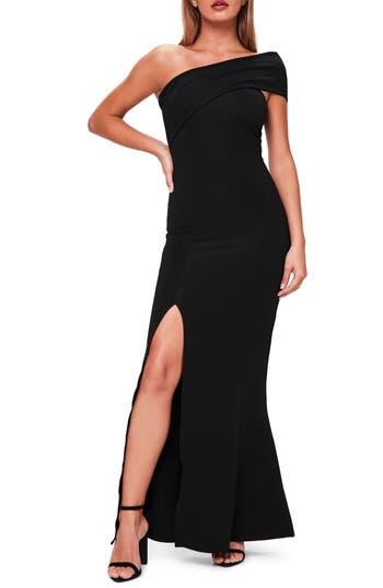 Missguided One-Shoulder Gown, US / 6 UK - Black