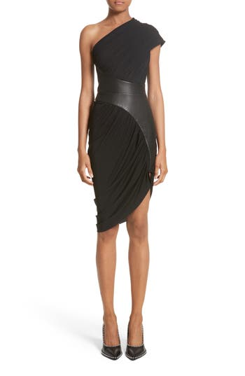 Alexander Wang Leather Detail Draped One-Shoulder Dress, Black
