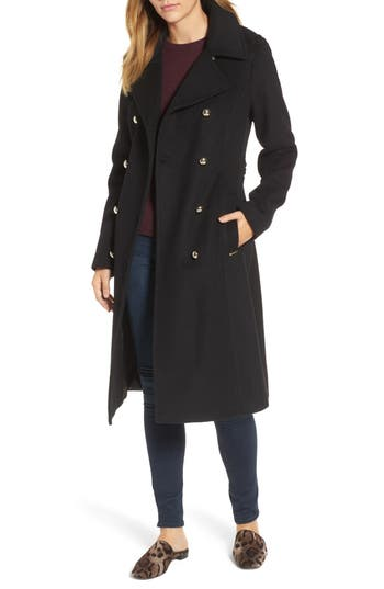 Women's Michael Michael Kors Missy Double Breasted Wool Blend Military Coat, Size Small - Black