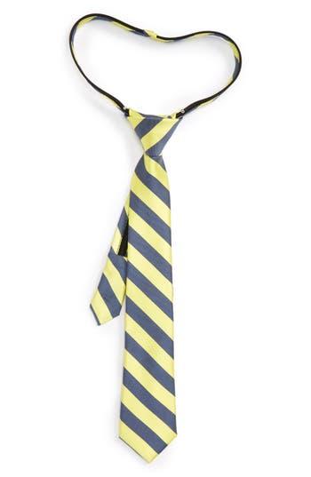 Boys Nordstrom Stripe Silk  Cotton Zip Tie