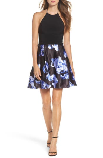 Blondie Nites Floral Skirt Halter Skater Dress, Black