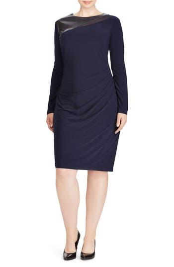 Plus Size Lauren Ralph Lauren Faux Leather Yoke Sheath Dress, Blue