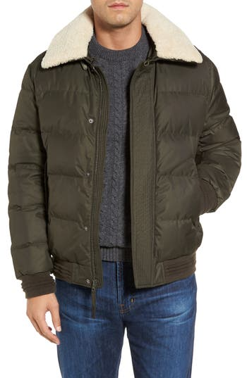 Andrew Marc Pinnacle Quilted Down Jacket With Genuine Shearling Collar, Green