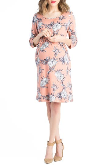 Lilac Clothing Floral Belted Maternity Shift Dress, Pink