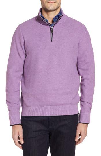 Tailorbyrd Ossun Tipped Quarter Zip Sweater, Purple