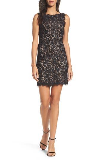 Adrianna Papell Boatneck Lace Sheath Dress, Black