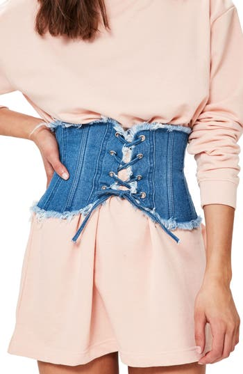 Women's Missguided Frayed Edge Lace-Up Denim Belt